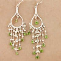 Exclusive Pearl & Peridot Gemstone Silver Bali Beaded Earrings