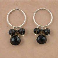 Gracious Fashionable Smokey Quartz Gemstone Silver Beaded Earrings