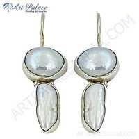 Fashionable Pearl Sterling Silver Earrings