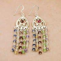 Delicate Multi Gemstone Silver Beaded Earrings, 925 Sterling Silver Jewelry
