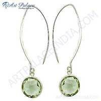 Classy Green Amethyst Gemstone Silver Trendy Earrings