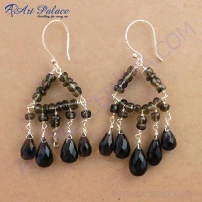 Attractive Triangle Smokey Quartz Gemstone Silver Earrings, 925 Sterling Silver Jewelry