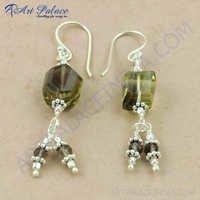Pure Style Smokey Quartz Gemstone Silver Earrings, 925 Sterling Silver Jewelry