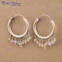 Hot Selling Rainbow Moonstone Silver Gemstone Earrings, 925 Sterling Silver Jewelry