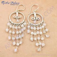Royal & Attractive Rainbow Moonstone Gemstone Silver Earrings