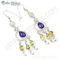 Latest Fashion Multi Stone Silver Earrings