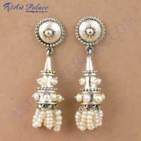 Royal Style Pearl Gemstone Silver Earrings, 925 Sterling Silver Jewelry