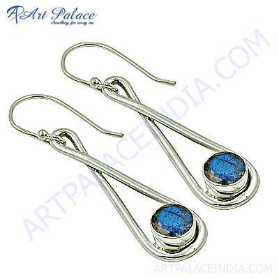 Delicate Labradorite Gemstone Silver Earrings