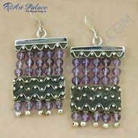 Truly Designer Amethyst Gemstone Silver Earrings, 925 Sterling Silver Jewelry