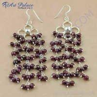 Luxurious Garnet Gemstone Silver Earrings, 925 Sterling Silver Beaded Jewelry