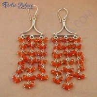 Carnelian Gemstone 925 Sterling Silver Earrings, Rady To Wear Jewelry