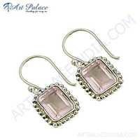 Lovely Gemstone Silver Earrings With Rose Quartz