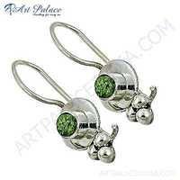 Famous Style Peridot Gemstone Silver Earrings