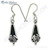 Top Quality Amethyst Gemstone Silver Earrings