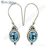 Costume Jewelry, Blue Topaz Gemstone Silver Earrings