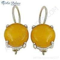 Valuable Amber Gemstone Sterling Silver Earrings