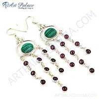 Exclusive Malachite & Tourmaline Gemstone Silver Earrings