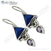Luxurious Amethyst, Citrine & Lapis Gemstone Silver Earrings