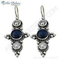 Ethnic Designer Cubic Zirconia & Lapis Lazuli Gemstone Silver Earrings