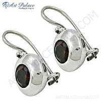 Latest Garnet Gemstone Silver Earrings