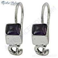 Trendy Amethyst Gemstone Silver Earrings