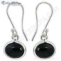 Nightlife Black Onyx Gemstone Silver Hot Earrings