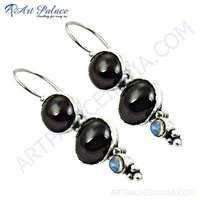 HOT!!! Luxury Garnet & Labradorite Gemstone Silver Earrings