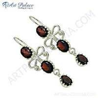 Unique Style Garnet Gemstone Silver Earrings
