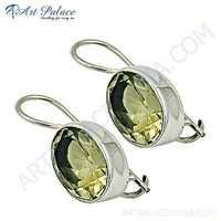 Charming Lamon Quartz Gemstone Silver Earrings