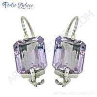 Extra Shiney Amethyst Gemstone Silver Earrings