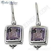 New Shiney Amethyst Gemstone Silver Earrings