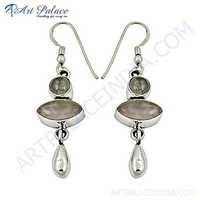 Attractive Style Rose Quartz Gemstone Silver Earrings