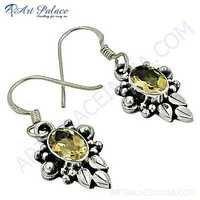 Victorian Designer Citrine Gemstone Silver Earrings