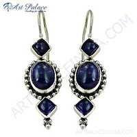 Fastival Wear Amethyst Gemstone Silver Designer Earrings