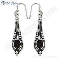 Indian Touch Gemstone Silver Earrings With Garnet
