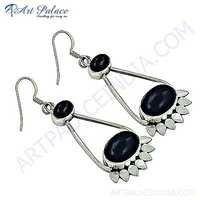 Amethyst Gemstone Silver Antique Style Earrings