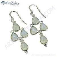 Famous Style Rainbow Moonstone Gemstone Silver Earrings