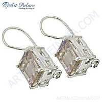 Fashionable Pink Cubic Zirconia Gemstone Silver Earrings