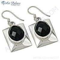 Lastest Luxury Black Spinel Gemstone Sterling Silver Earrings