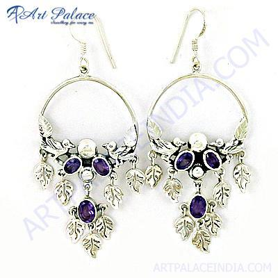 Party Wear Designer Amethyst Gemstone Silver Earrings