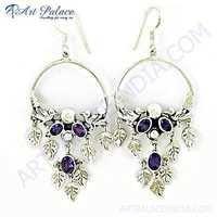 Party Wear Designer Amethyst Gemstone Silver Earrings