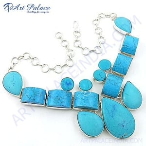 Party Wear Turquoise Gemstone German Silver Necklace