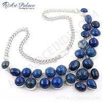 Costume Jewelry, Lapis Lazuli Gemstone German Silver Necklace