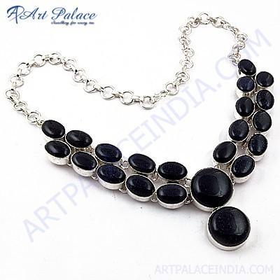 Lastest Luxury Blue Sendstone Gemstone German Silver Jewelry Necklace