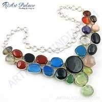 Fashionable Multi Stone Necklace With German Silver