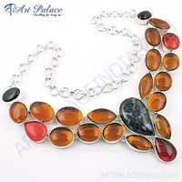 Charming Multi Stone German Silver Necklace