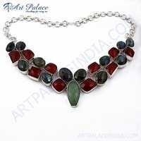 Luxurious Multi Stone German Silver Necklace