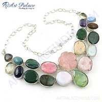 Fabulous Multi Stone German Silver Necklace