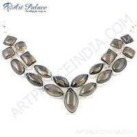 Dazzling Smokey Quartz Gemstone Necklace With German Silver