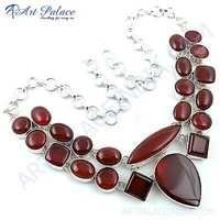 Hot !! Red Onyx Gemstone German Silver Necklace
